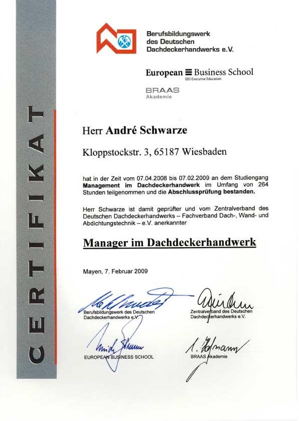 Zertifikat Manager Dachdeckerhandwerk Dachdecker Andre Schwarze