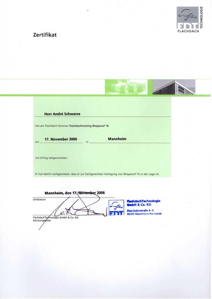 Zertifikat Flachdach Seminar Dachdecker Andre Schwarze