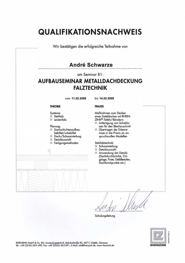 Qualifikation Falztechnik Dachdecker Andre Schwarze