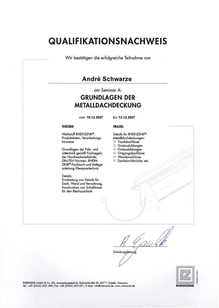 Qualifikation Metaldachdeckung Dachdecker Andre Schwarze