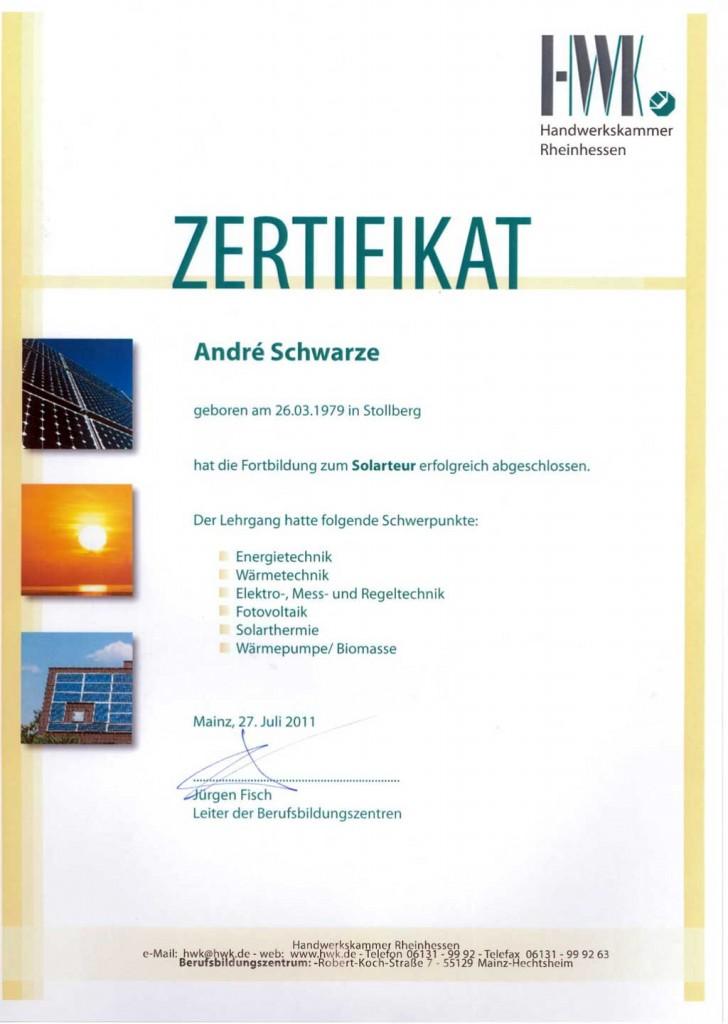 Zertifikat Solarteur Dachdecker Andre Schwarze