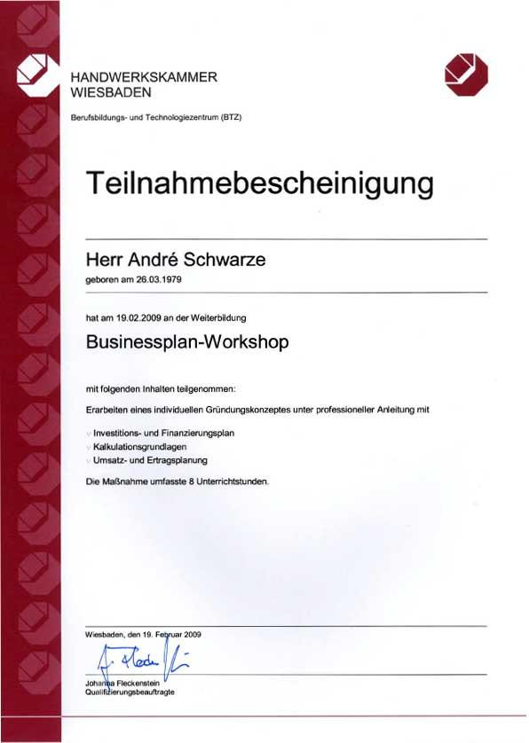 Businessplan-Workshop Teilnahmebescheinigung Dachdecker Andre Schwarze