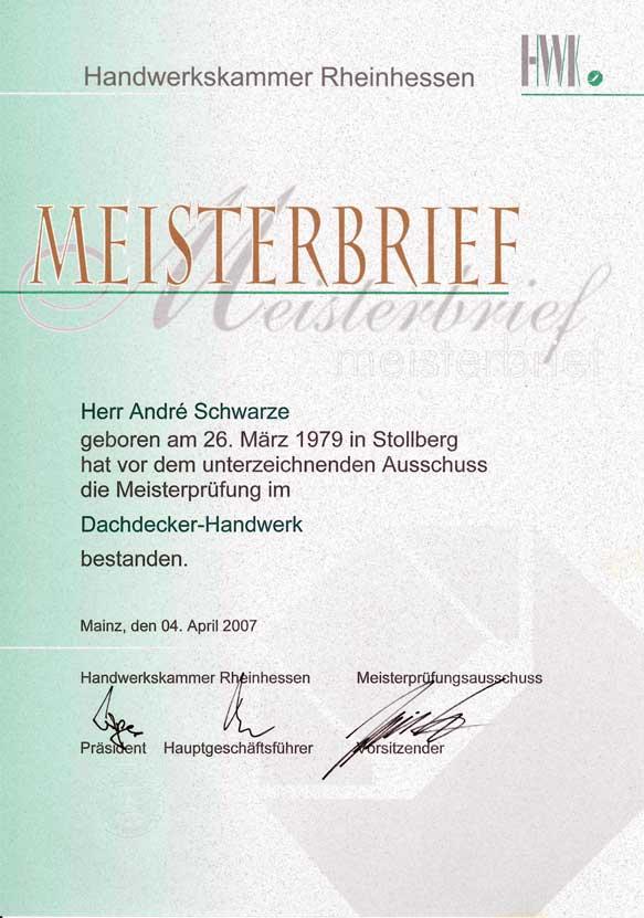 Meisterbrief Dachdecker Andre Schwarze