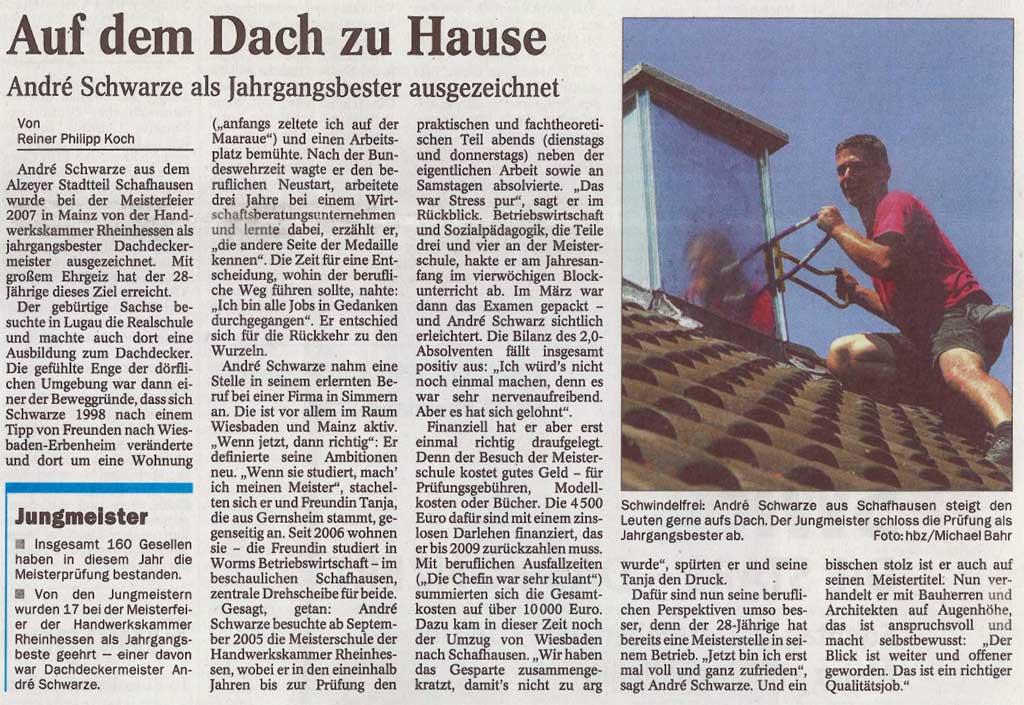 Artikel Zeitung Dachdecker Andre Schwarze