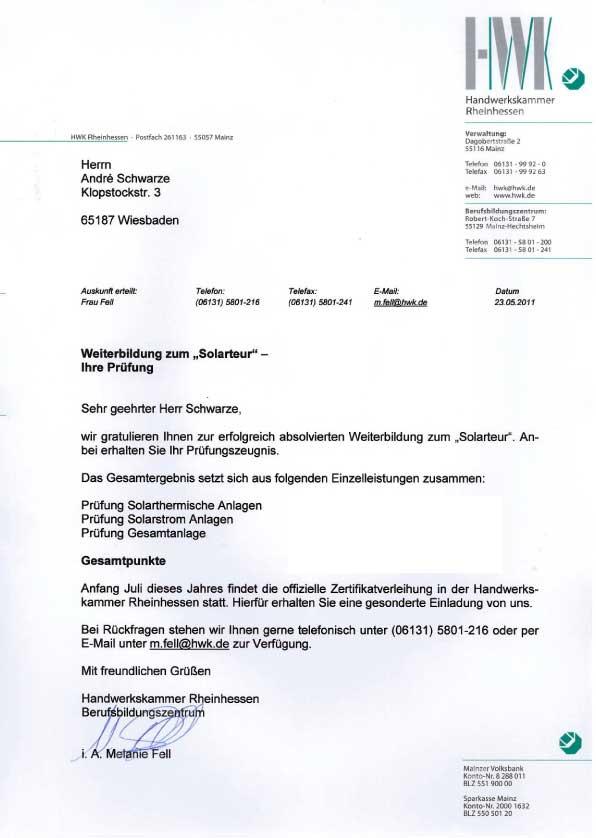 Weiterbildung Solarteur Dachdecker Andre Schwarze