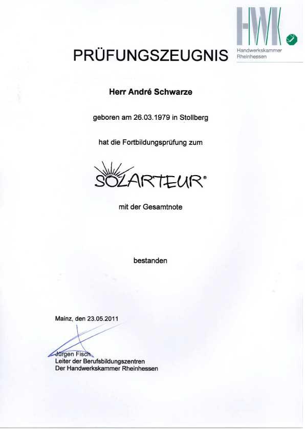 Fortbildung Solarteur Dachdecker Andre Schwarze