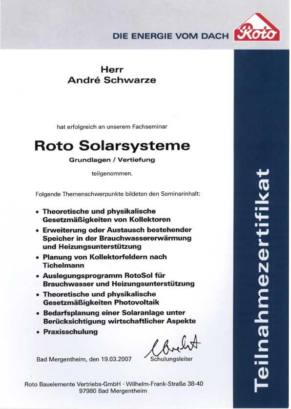 Fachseminar Roto Solarsysteme Dachdecker Andre Schwarze