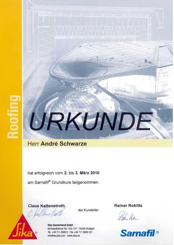 Urkunde Sarnafil Dachdecker Andre Schwarze