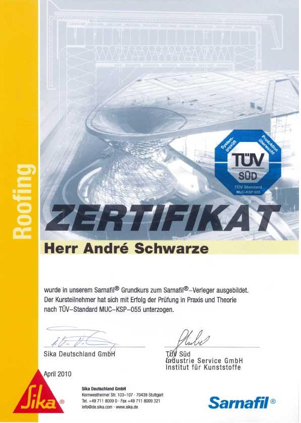 Zertifikat Sarnafil Dachdecker Andre Schwarze