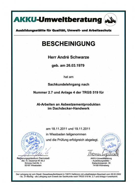 Bescheinigung Asbest Dachdecker Andre Schwarze