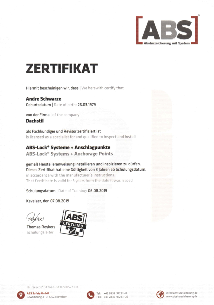 ABS Zertifikat Andre Schwarze